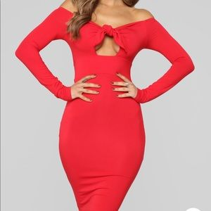 VERY SEXY RED OFF THE SHOULDER MIDI DRESS SIXE XL